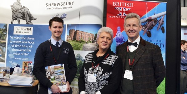 Shrewsbury tourism stand - Left to Right Mark Hooper from Sabrina Boat , Maggie Morris Shrewsbury Tourism and Clive Knowles, Chairman of the British Ironwork Centre.