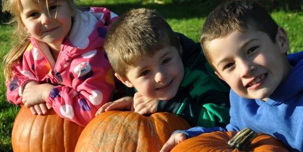 Children with their pumpkins