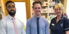 New Lunts Hereford Road pharmacy staff - pre-registration pharmacist Amar Nagra and superintendent pharmacist Connor Hunt - with dispensing assistant Kim Gough.