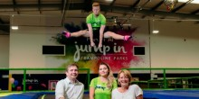 Duncan Kemp, general manager of Jump In Shrewsbury with Sally Johnson, founder of The Harry Johnson Trust, and Jump In staff ready for next month's half-term fundraising challenges.