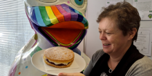 pensionlite staff member libby hook with a victoria sponge