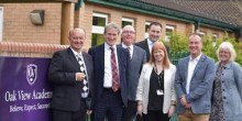 L to R - Brendan Wignall, Damian Hinds MP, two Cheshire West and Chester councillors, Fiona Whittaker, Head of Oakview Academy, Steve Docking, CEO of NWAT and another CWAC councillor