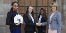 Adcote School Headteacher Diane Browne congratulations students on passing CMI level 3 qualification