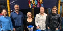 Caption L-R: Staff from 1st Choice Insurance join staff from Little Rascals after nominating them as their charity of the year - Ben Wootton, Ken Baker, Rose Stephen, Jason Martin and Dave Edwards.