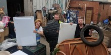 Councillor Viv Parry and volunteers at The Furniture Scheme are trying to stop people dumping rubbish in the charity's yard