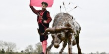 Professional actor with Anti-Bullfighting Sculpture