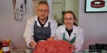 Lee Evans, butchery manager and Kay Badley, operations director, welcome new school menu