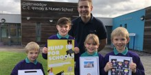 Caption: L-R Ellis Alton, 5, Connor Frost, 9, Amelia Frost, 7 and George Alton, 7, with Duncan Kemp, general manager of Jump In Shrewsbury launching the new Jump In Shrewsbury voucher scheme at Oakmeadow CE Primary School in Bayston Hill.