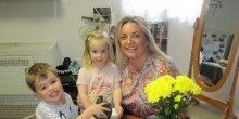 Four year old Reuben Hale and two year old Josie Shaw with Lucy Shaw at ABC Day Nursery in Telford