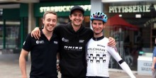 Brothers Tom Pook and Chris Pook, who both rider for Rhino Velo, with former UCI professional Liam Holohan.