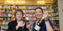 Jan McDermott and Nicky Pearson celebrate 55 years at Pontesbury Pharmacy