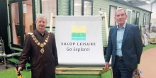 Salop Leisure's chairman Tony Bywater welcomes Shrewsbury's Mayor Councillor Julian Dean on Monday to celebrate English Tourism Week.
