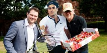 L-R Seb Slater, Roger Federer (cut out) and Des Walker