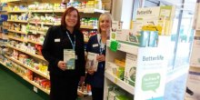 Lorraine Anderson and Mandy Price present some of the new products at Lunts pharmacy in Craven Arms