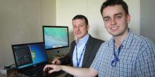Trevor Cross and apprentice Tom Dinnage start work at Thomas Adams School, We,#m