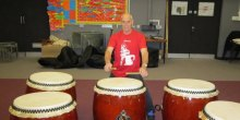 Martin Fischer with his new taiko drums
