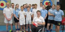 Paralympic archer Mel Clarke has visited Thomas Adams School in Shropshire