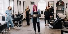 From left to right Miranda Etheridge, Jade Beckwith, Sarah Barton and Lisa Hughes at Meraki Hair and Beauty (Photo credit: Birgitta Zoutman Photography)
