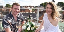 James Hinch and Sandra Phillips got engaged on the rooftop of Shrewsbury Market Hall