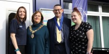 Mayor of Shrewsbury, Jane Mackenzie is pictured outside Severnside's Meole Digital Den