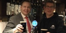 Wayne Jenson from Buckatree Hall Hotel and Reuben Crouch of Hobsons Brewery celebrate newly available Shropshire Stout