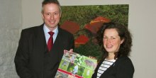 Pictures - Mark Evans presents the calendars to Helen Trotman of Shroposhire Wildlife Trust