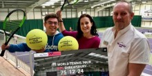 Beth Heath, director of fun for Shropshire Festivals, with, left, Simon Haddleton, The Shrewsbury Club's director of tennis, and the club's operations manager Richard Micklewright.