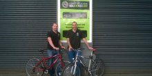 Simon Magill & Stefan Laird demonstrate bikes now on offer at the Furniture Scheme