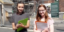 Students Caitlin Osborne (on left) and Bethany Maddock, at the Shrewsbury Flaxmill Maltings.