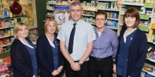 Sue Walsh, Jill Kelly, Ian Swindell, Helen Grass and Lauren Wagstaff from Lunts pharmacy at Roushill where you can get a free blood pressure check this month