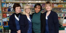 Yvonne Hannah, Cindy Dickens, Adeola Allinson and Kim Gough from Lunts pharmacy in Hereford Road are celebrating good customer feedback