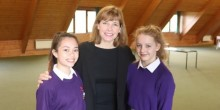 Zoë Mabaquaio Lennox and Abi Manford from Ellesmere College with Dame Darcey Bussell