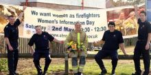 We want more women firefighters: Left to right: Justin Norgrove, James Bond, Scott Marnick and Martin Smith with Kat Frost (Centre)